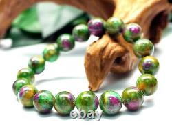 11.5MM Rare 5A Natural Ruby in Fuchsite Crystal Round Bracelet GIFT BL9281c