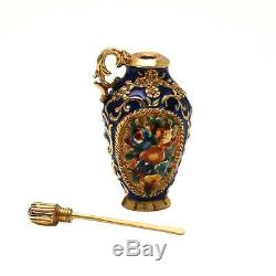 18K Yellow Gold Enamel and Blue Sapphire Snuff Bottle VERY RARE MADE IN ITALY