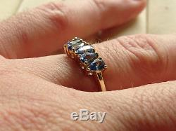 1.09Cts Rare Natural Ceylon Blue Sapphire 10K Y Gold Ring Size P-Q/8 RRP £299