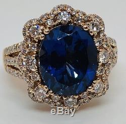 $30k LeVian Couture 5 Ct Sapphire Diamond Ring 18K Rose Gold Rare Make Offer