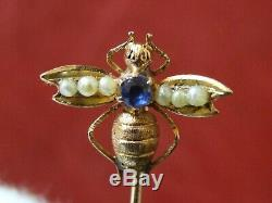 Antique 18K Gold Bee with blue sapphire & pearls 19th century Rare Pin