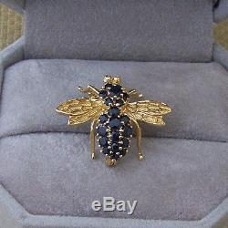 BEAUTIFUL SIGNED RARE VINTAGE WALTER LAMPL 14K GOLD BEE PIN With BLUE SAPPHIRES