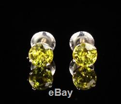 BLUE NILE SIGNED RARE NATURAL 2.0ct YELLOW SAPPHIRE 18K WHITE GOLD STUD EARRINGS
