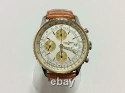 BREITLING Old Navitimer D13022 Automatic Chronograph Men's Watch White Dial Rare