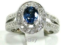 Blue Sapphire Ring Antique Halo GIA certified 14K white gold Rare Heirloom $4,48