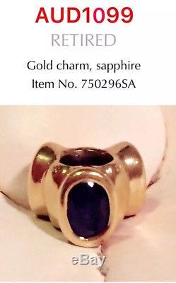 Brand New Pandora 14K Gold Blue Sapphire Charm, 750296SA, Rare To Find