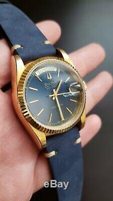 Bulova Super Seville Day/Date Automatic VintageEXTREME RARE BLUE DIAL