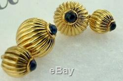 CARTIERPasha CollectionCabochon Sapphires and 18Kt Yellow Gold Cuff LinksRARE