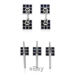 Cartier Sapphire Dress Set Cufflinks With Matching Studs Rare and Collectible