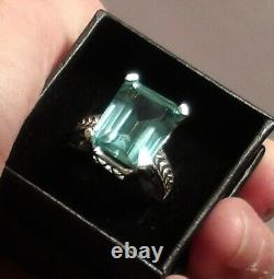 Certified RARE Natural 14.30ct Blue Green Parti Sapphire Ring Sterling Size 7