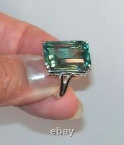 Certified RARE Natural 20.20ct Blue Green Parti Sapphire Ring Sterling Size 6