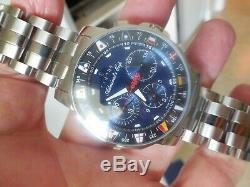Corum Admiral's Cup Blue Chronograph 985.643.20 Stainless S 44mm Men' Watch, RARE