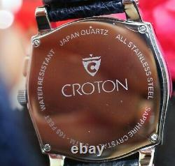 Croton Moonphase Triple Date Sapphire Crystal Stainless Steel Watch RARE