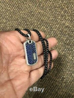 David Yurman Pave Tag Blue Sapphires Large. 26 2.7mm Stainless Steel Chain Rare