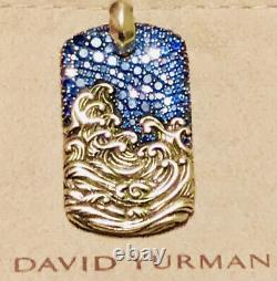 David Yurman Waves Blue Sapphire And Sterling Silver Dog Tag Pendant Rare