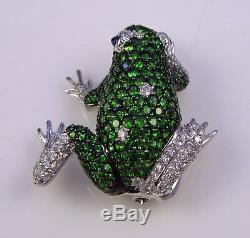 ESTATE Vintage Rare 18k Gold Tsavorite Diamond Blue Sapphire Frog Toad Brooch