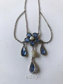 Edwardian Gold Filled Blue Sapphire & Pearl Seeds Necklace Rare Signed HL & B