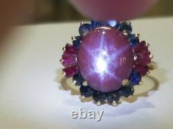 Estate 14k Star Ruby and Blue Sapphire Ring RARE