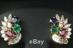 Estate & RARE Sapphire, Emerald, Ruby & Diamond 14k Yellow Gold Over Earrings Set