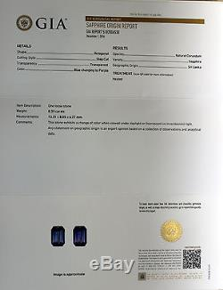 GIA Certified Blue Sapphire(Color Change) 8.33ct. Emerald cut Exceptionally Rare