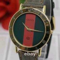 GUCCI 3000M Men's Sherry Line Wristwatch Good condition Rare From JAPAN F/S