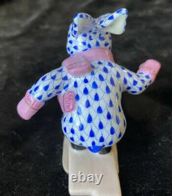 Herend Skiing Bunny 5564 SVHB3 Rare Sapphire Blue Fishnet With Pink