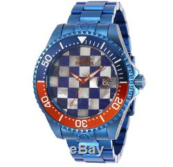 Invicta Grand Diver Automatic Chess Mosaic Dial Men's 47mm Blue Watch RARE 29120