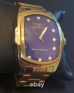 Invicta Grand Lupah 17413 Mens Gold Special Edition Rare Blue Dial Watch
