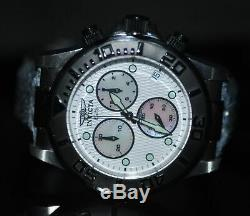 Invicta Men's Rare Pro Diver Swiss Chronograph White MOP Dial Leather Watch 1720