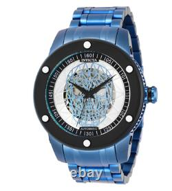 Invicta Speedway Electric Blue Skull Automatic Men's 51mm Watch 27617 RARE
