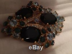 Jacqueline KennedyEXTREMELY RARE Crest Shaped and Shades of Blue Crystal Brooch