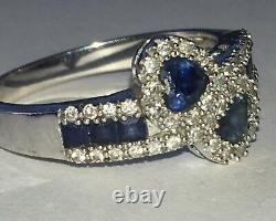 Large Heart Sapphires Ring 14k White Gold With Diamonds Gorgeous Rare Ring $$$$