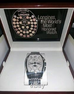 Longines Evidenza Chronograph Complete Calendar Ivory Dial Stainless Mens RARE