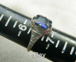 Maltese Cross Rare Ostby Barton 10k Wg Etched Sapphire Blue Ring Sz 6.5