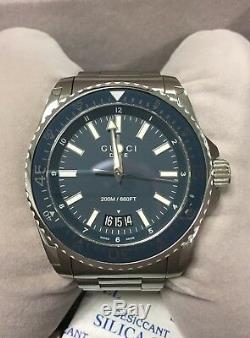 Mens Gucci Dive Watch EXTRA LARGE 45mm YA136203 Rare Blue Dial Swiss Made