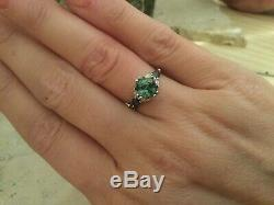 Mind Blowing 14k White Gold Rare Blue Green Sapphire & Diamond Ring Shane Co Wow