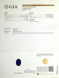 Natural Extremely Rare Unheated Royal Vivid Blue Sapphire Oval-shape 7.45cts GRS