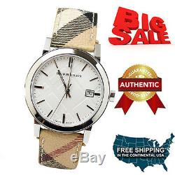 New 100% Authentic Burberry Bu9025 Brown Leather Chronograph Unisex Watch