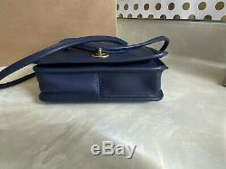 New Coach Vintage Compact Pouch Sapphire Blue Leather Crossbody Bag USA Rare
