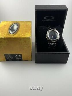 Oakley Blade Watch Polished Stainless Steel Black Face+Box 10-160 NEW RARE