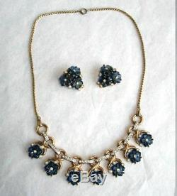 RARE 1949 Philippe TRIFARI Blue SAPPHIRE Glass & RS FLOWERS NECKLACE & EARRINGS