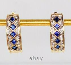 RARE $2400 2.33ct Natural Blue Sapphire 14k Yellow Gold Leverback Earrings 5.5g