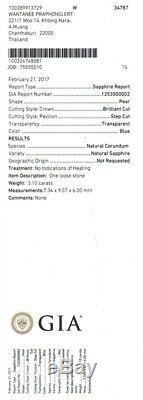 RARE! 3.10ct VS Pear Natural Unheated Blue Sapphire Full Report GIA Certified
