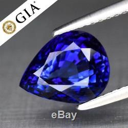 RARE! 3.31ct 9.5x7.5mm IF Pear Natural Blue Sapphire Full Report GIA Certified