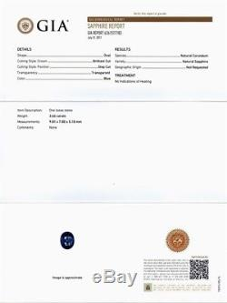 RARE! 3.66ct IF Oval Natural Unheated Blue Sapphire Full Report GIA Certified