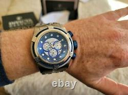 RARE INVICTA Bolt Chronograph Silver-tone Dial Stainless Blue face Watch 12728