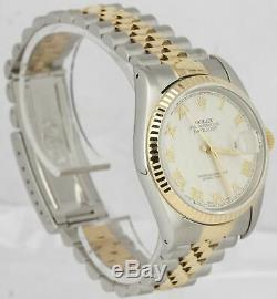 RARE Rolex DateJust 36mm Pyramid 16233 Two-Tone Silver Stainless Jubilee Watch