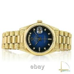 RARE Rolex Day-Date Watch 18KY 36mm Blue Vignette Dial President Bark Finish