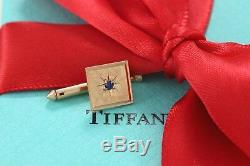 RARE Tiffany & Co 14Kt. Gold Blue Sapphire Square Mens Shirt Stud withPackaging