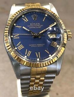 ROLEX DATEJUST 16013 18K YG/STEEL RARE GOLD PAINT BUCKLEY DIAL WithPAPERS 1988